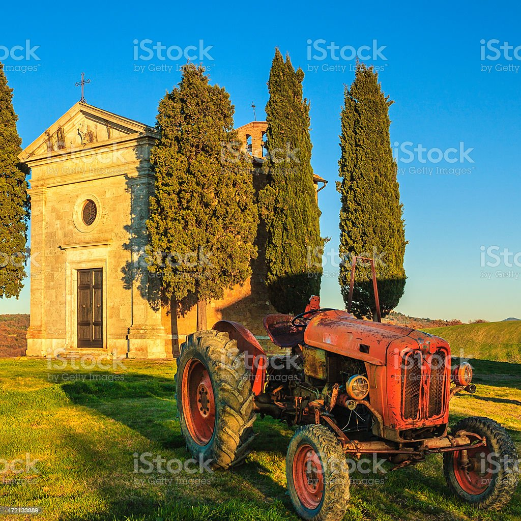 Red Old Tractor, Tuscany royalty-free stock photo