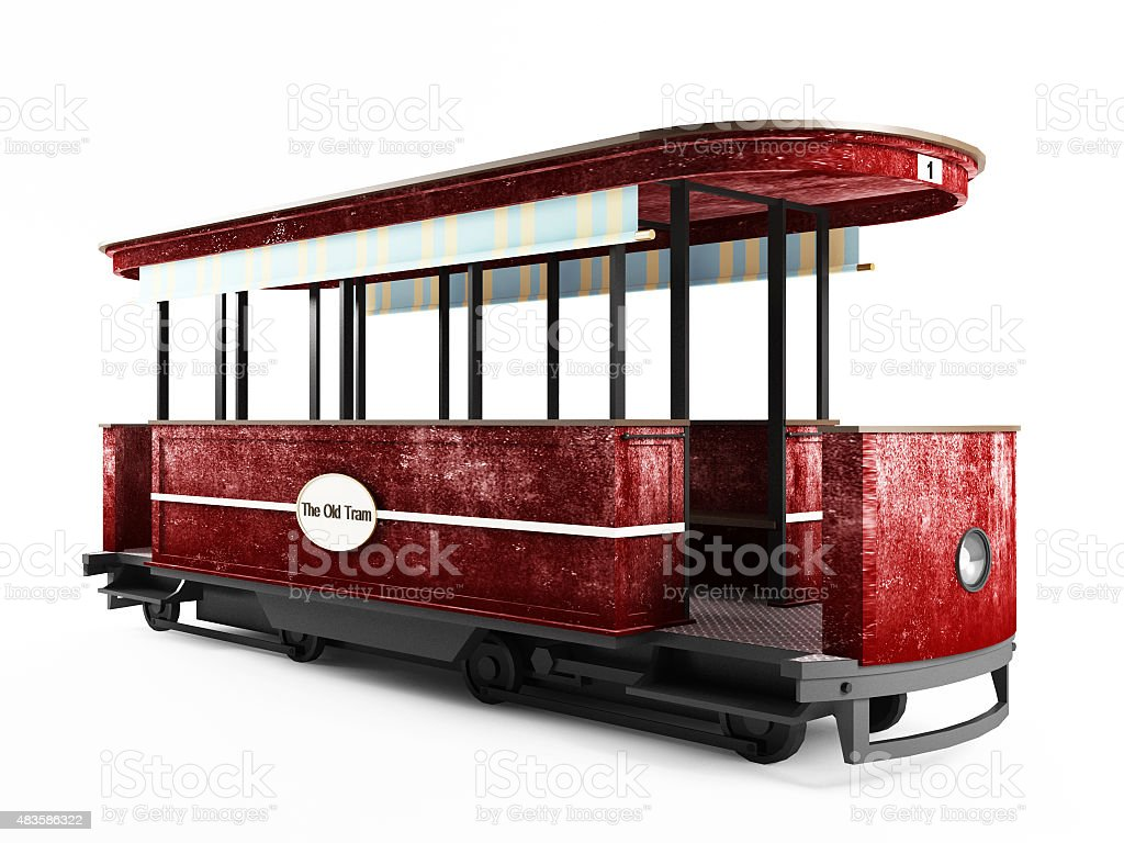 Red old tram isolated on white background stock photo