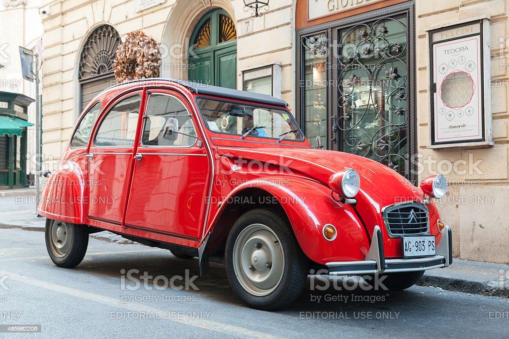 Red oltimer Citroen 2cv6 Special car stock photo