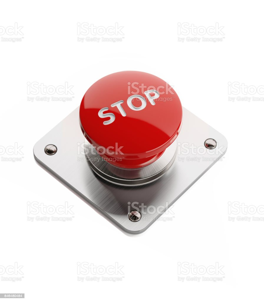 Red On and Off Button Isolated on White Background stock photo