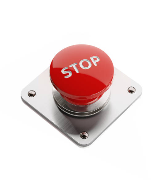 rojo encendido y apagado botón aislado sobre fondo blanco - stop sign fotografías e imágenes de stock
