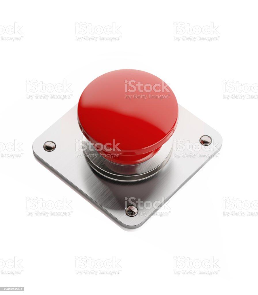 Rojo encendido y apagado botón aislado sobre fondo blanco - foto de stock