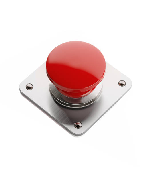 red on and off button isolated on white background - button stock photos and pictures