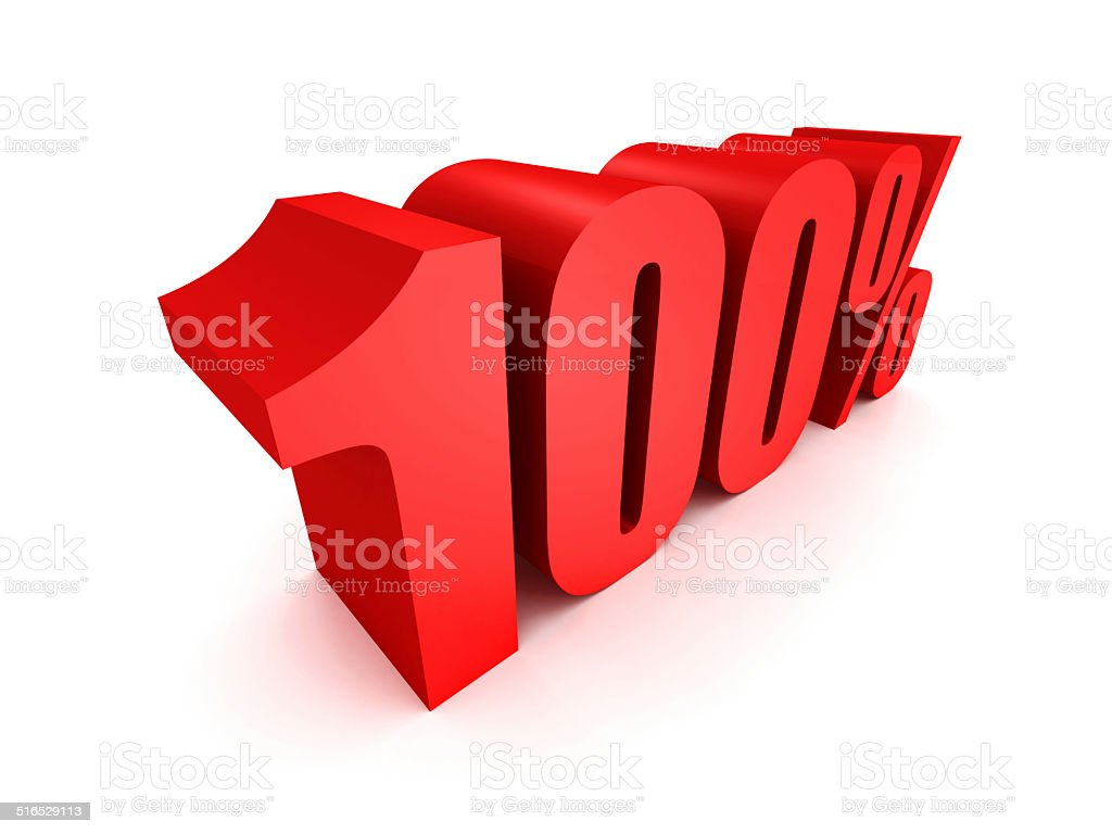 Red one hundred percent off symbol stock photo