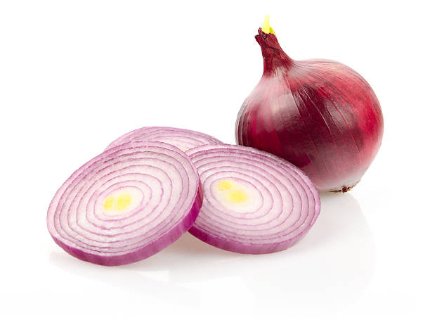 Red Onion and Onion Rings on White Background Red Onion and Onion Rings Isolated on White Background spanish onion stock pictures, royalty-free photos & images