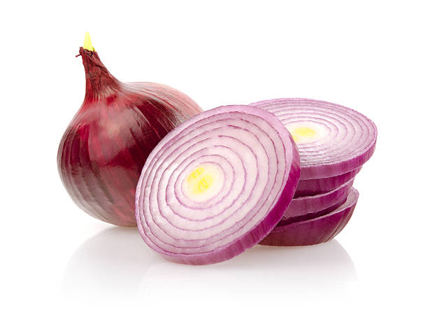 Red Onion and Onion Rings on White Background Red Onion and Onion Rings Isolated on White Background red onions stock pictures, royalty-free photos & images