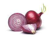 Red onion and slices with green sprout isolated on white background