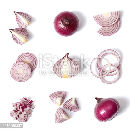 Red onion on a clear uniform background