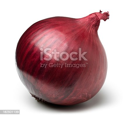 Red onion on white. This file includes