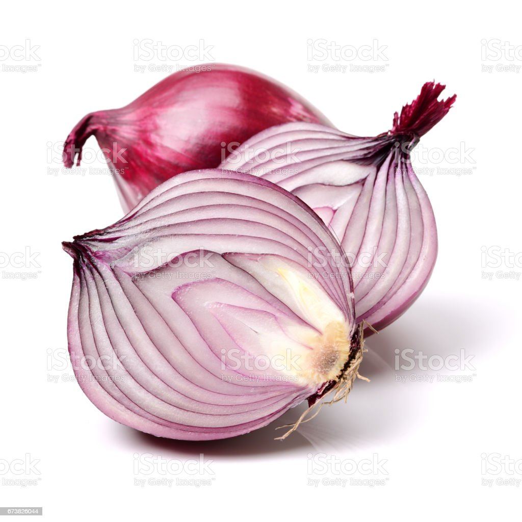 Red onion slice Isolated on White Background stock photo