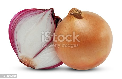 685555238 istock photo Red onion vegetable isolated on white background 1218562535