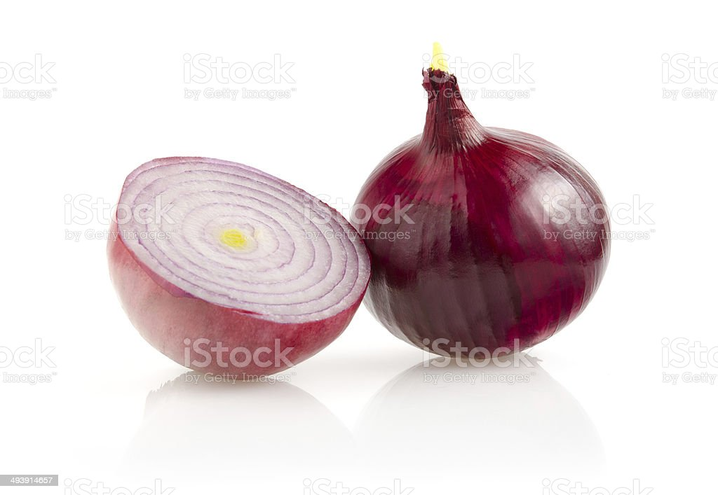 Red Onion with Half on White Background stock photo
