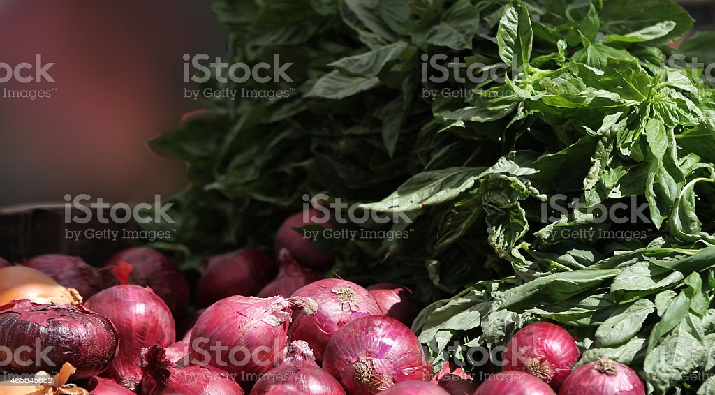 Red onions at the Farmer's Market stock photo