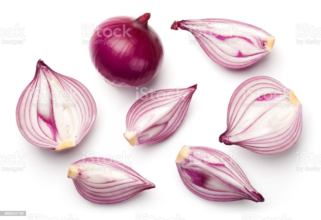 Red Onions Isolated on White Background stock photo