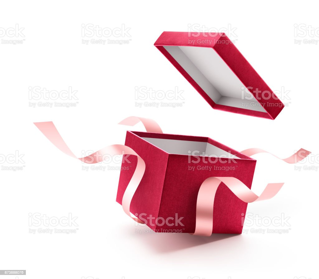 Red open gift box with ribbon isolated on white background stock photo