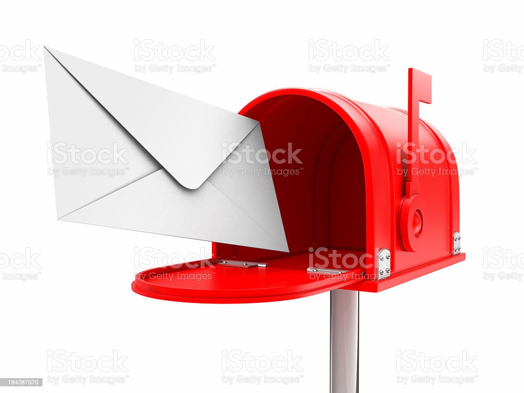 Red open mailbox with a white envelope royalty-free stock photo