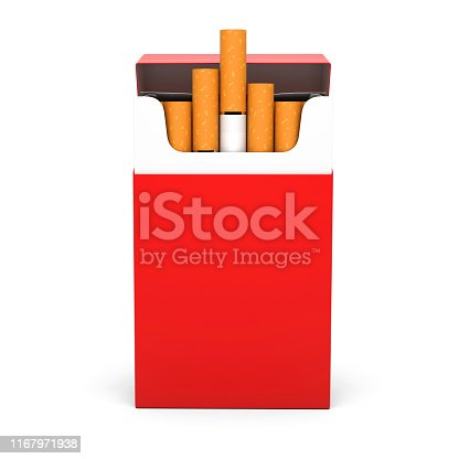 Red open pack of cigarettes. 3d rendering illustration isolated on white background