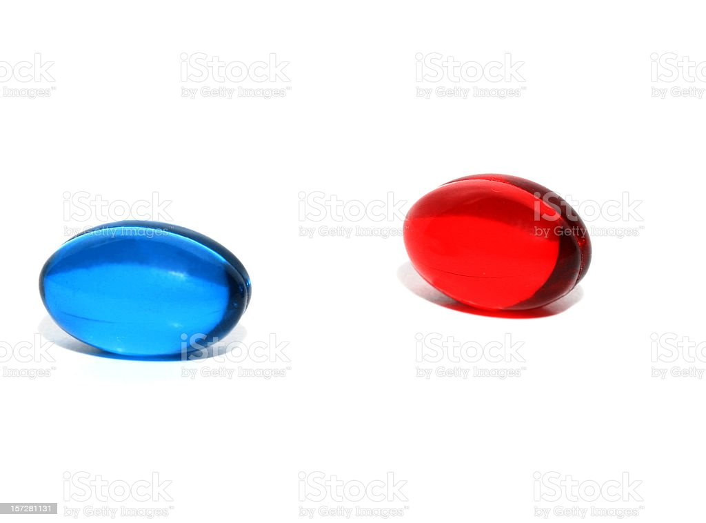 Red or Blue Pill stock photo