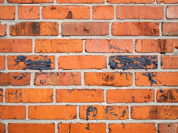 Red orange brick wall stock photo