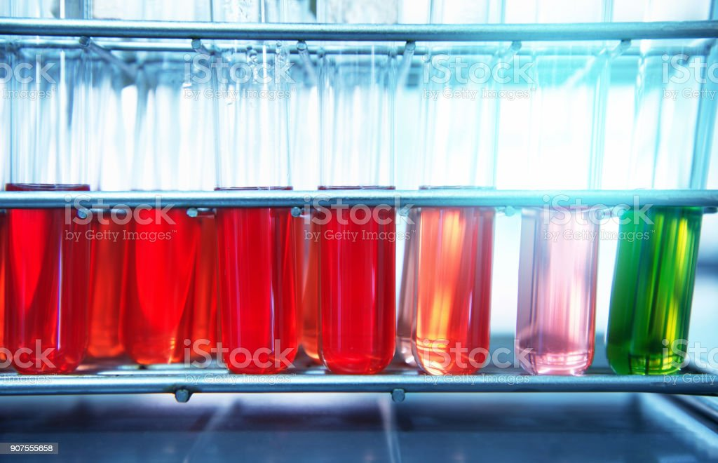 red orange pink green solution in biochemistry test tube in science laboratory background stock photo