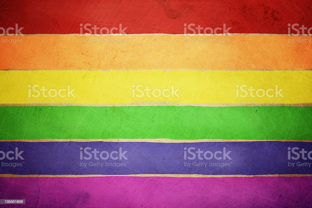 A red, orange, yellow, green, purple and pink rainbow flag stock photo