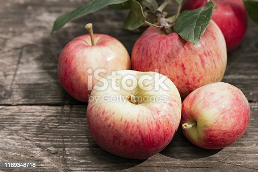 istock Red organic fresh apple fruits on rustic wooden table in the summer garden. close up Organic raw vegan healthy food. Summer color. Bio food. Banner background. Nature design. 1169348718