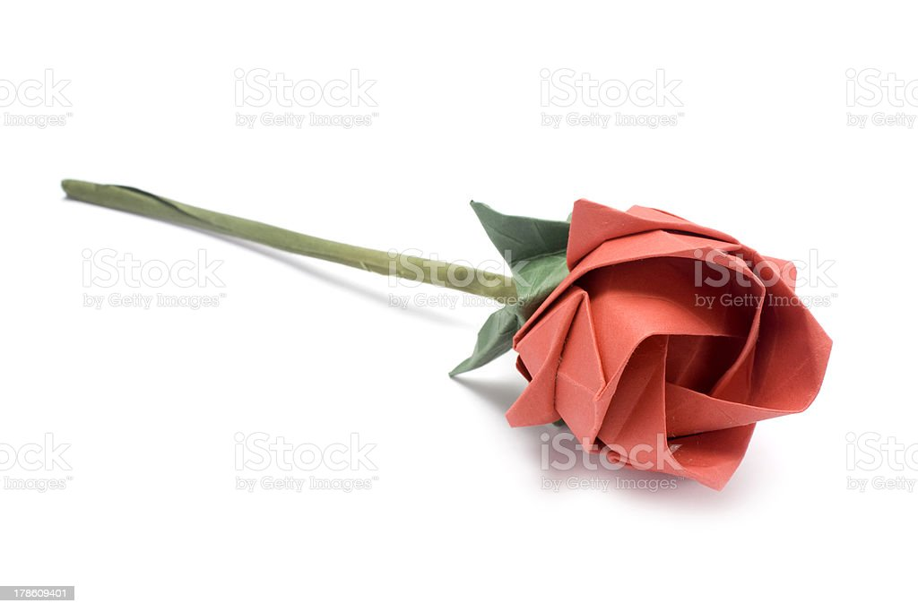 Red origami rose royalty-free stock photo