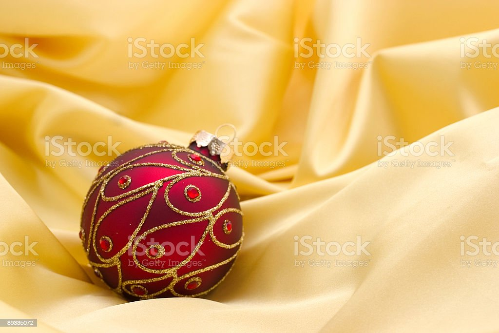 red ornament on yellow royalty-free stock photo