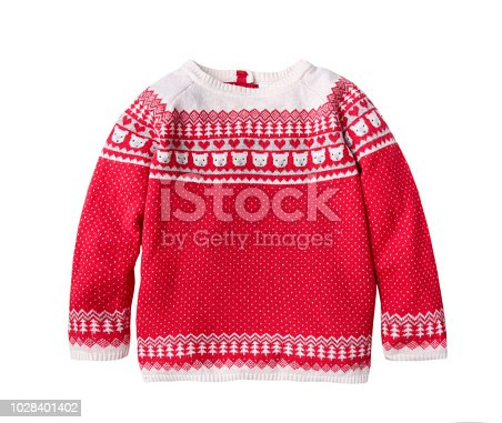 Ornated christmas red child's sweater isolated,winter knitted kids clothes.