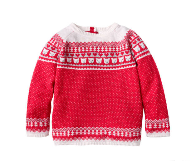 Red ornated child's christmas sweater isolated. Ornated christmas red child's sweater isolated,winter knitted kids clothes. sweater stock pictures, royalty-free photos & images