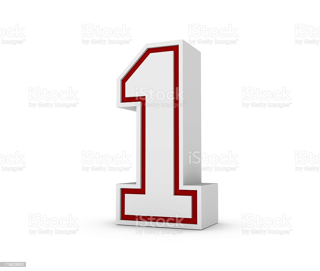 Red outlined number one block on white background royalty-free stock photo