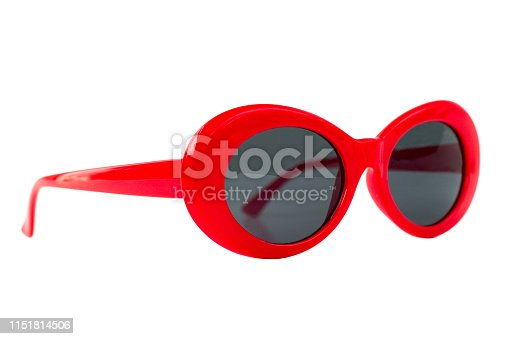 Red Oval Round Sunglasses isolated on white - side view
