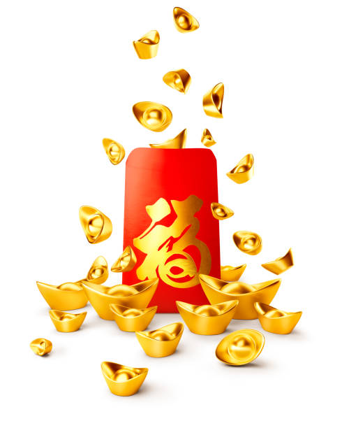 Red packet and chinese gold sycee ( yuanbao ) stock photo