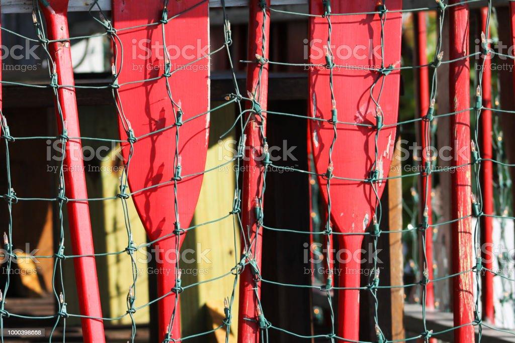 Las Paletas Rojas Y Luces Decoración Barandilla En Una