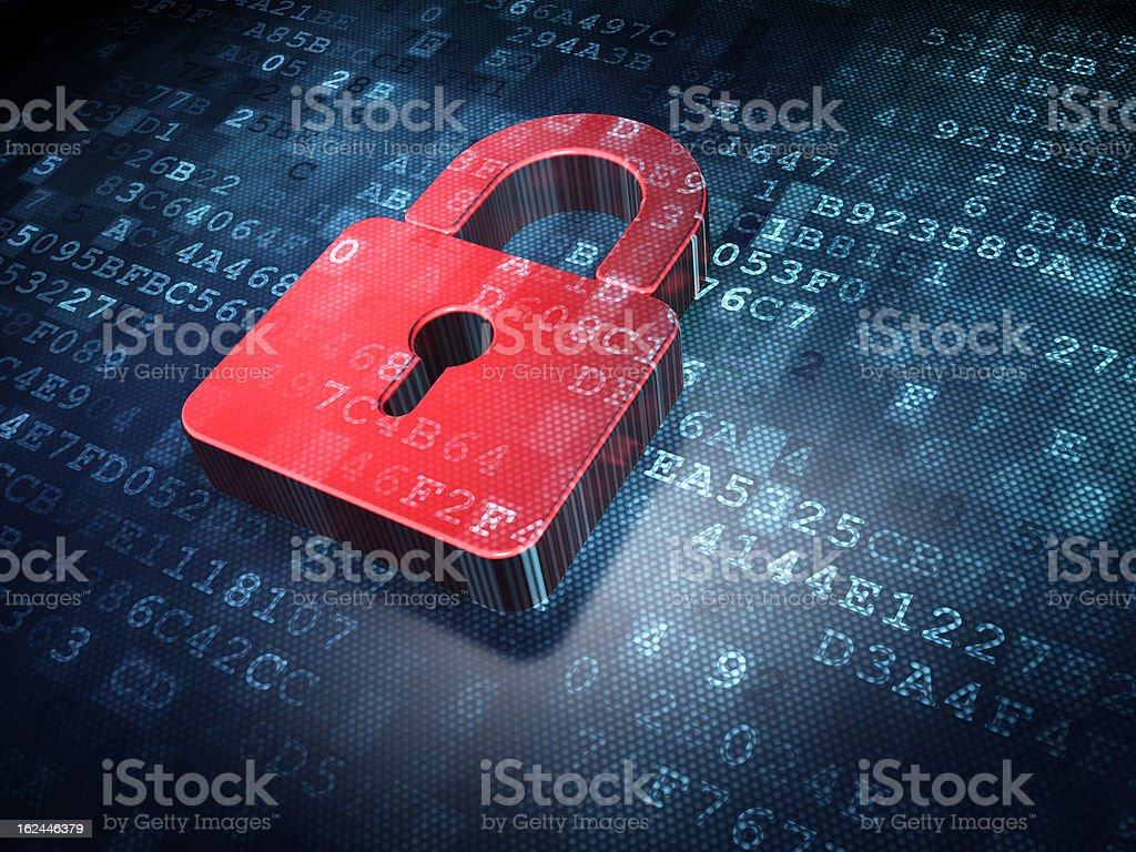 Red padlock illustration on a digital background Privacy concept: Red Closed Padlock on digital background, 3d render Accessibility Stock Photo