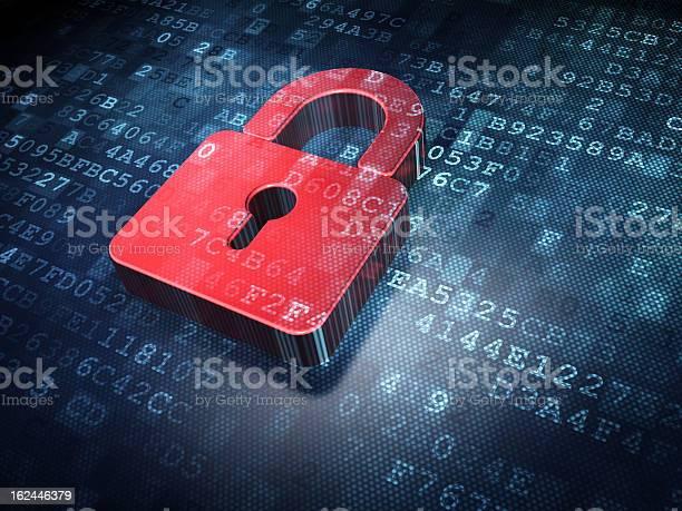 Red Padlock Illustration On A Digital Background Stock Photo - Download Image Now