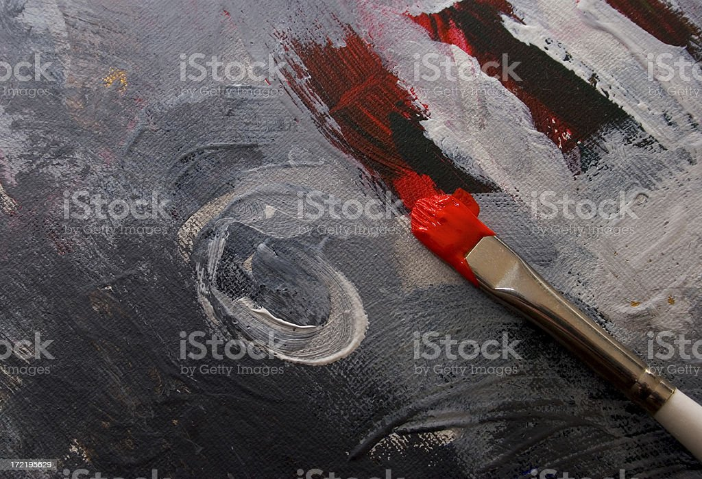 Red paint and brush royalty-free stock photo