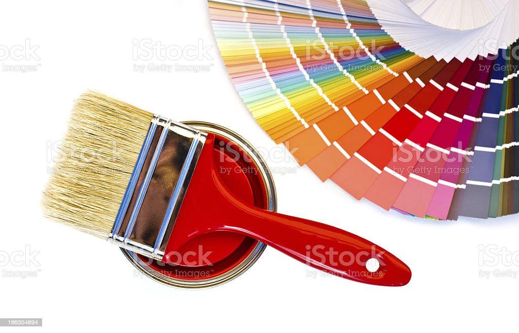 Red paint and swatch. royalty-free stock photo