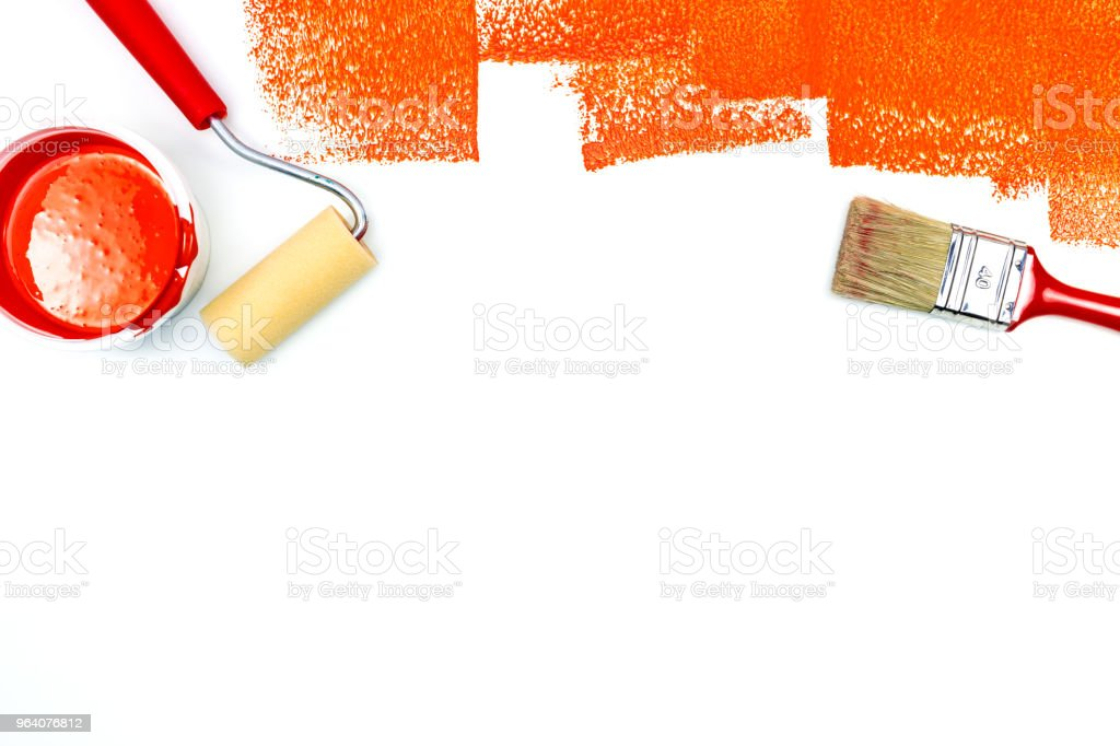 red paint brushstrokes on white background - Royalty-free Apartment Stock Photo