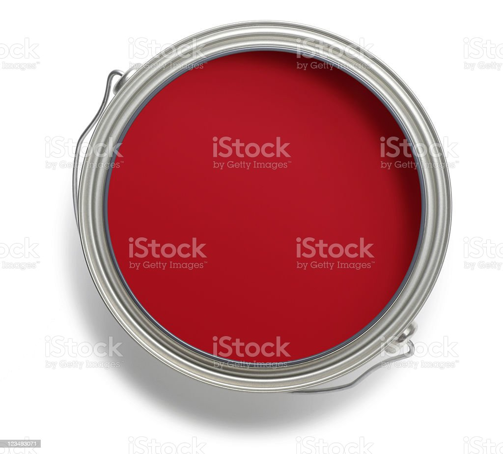 red paint can stock photo