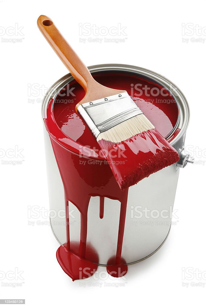 red paint can royalty-free stock photo
