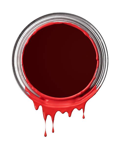 rote farbe drips - zinn farbe stock-fotos und bilder