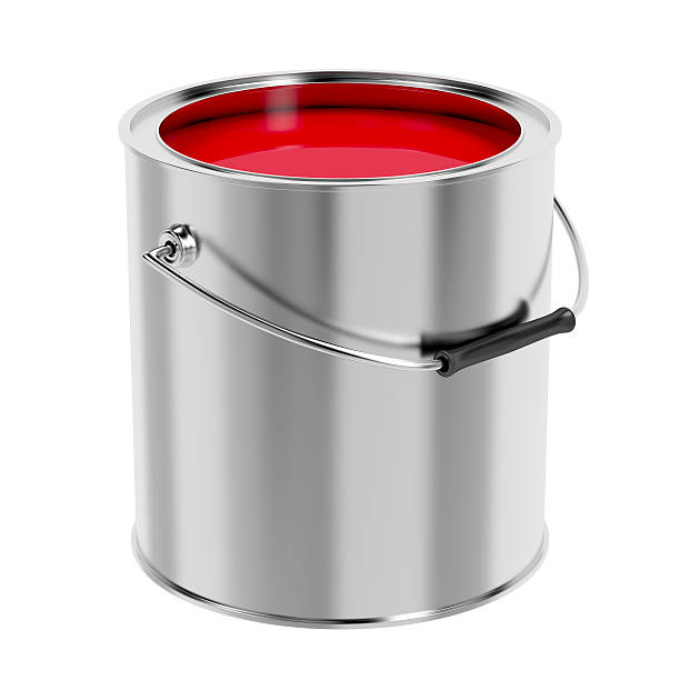 Red paint Canister with red paint isolated on white background canister stock pictures, royalty-free photos & images