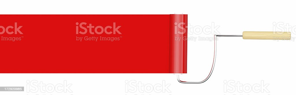 3D Red Paint roller royalty-free stock photo