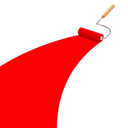 3d Red Paint Roller Stock Photo - Download Image Now