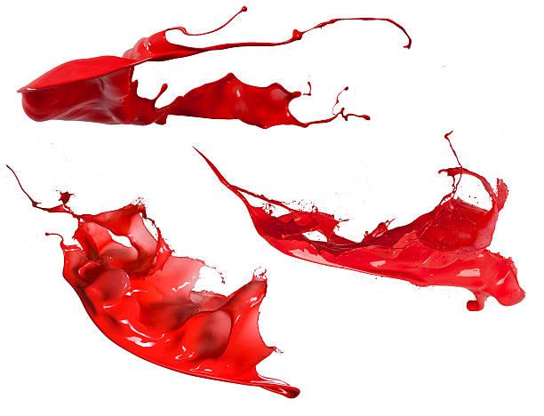 rote farbe splash-kollektion - fliegenspray stock-fotos und bilder