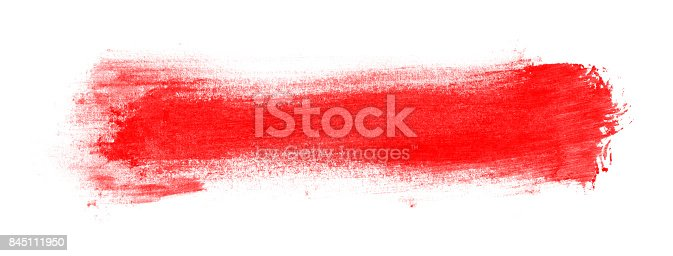 istock Red Paint with brush stroke isolated on white background 845111950