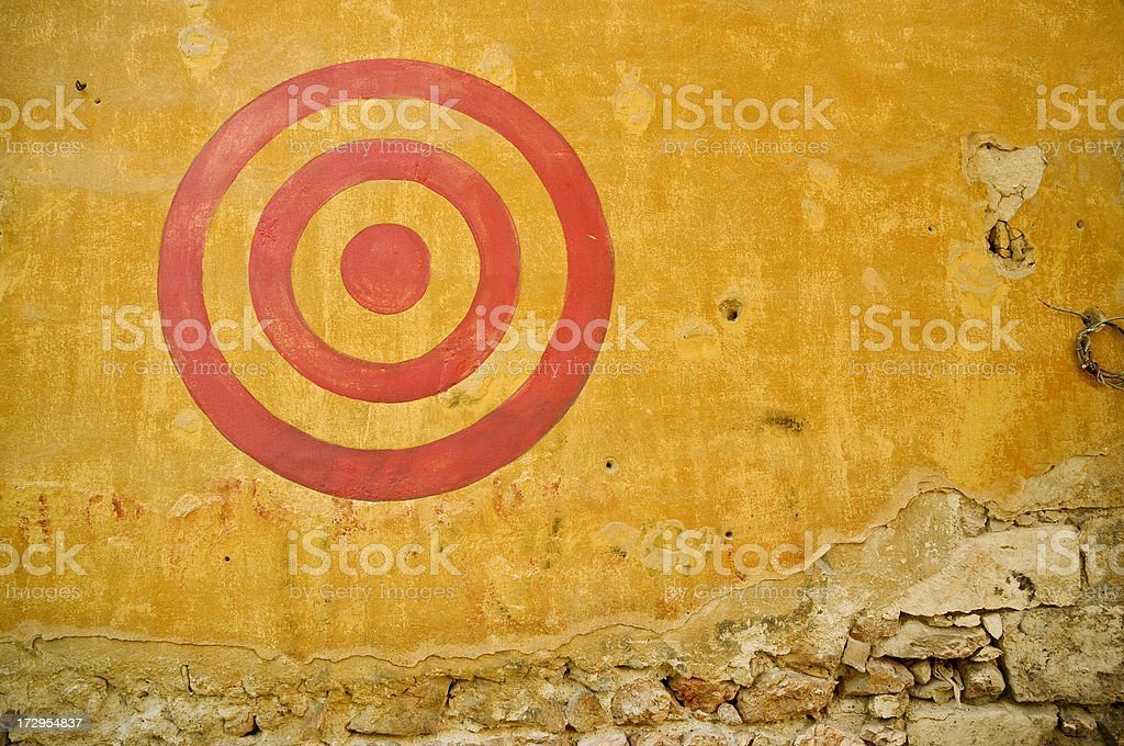 Red Painted Bullseye on Wall 2 royalty-free stock photo