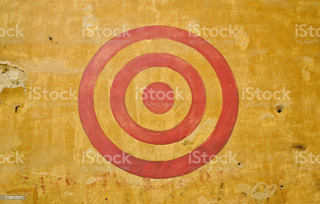 Red Painted Bullseye on Wall stock photo
