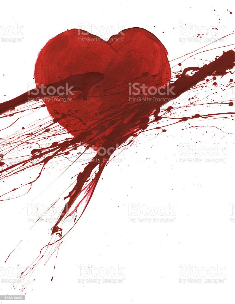 Red Painted Heart with Crimson Splatters royalty-free stock photo